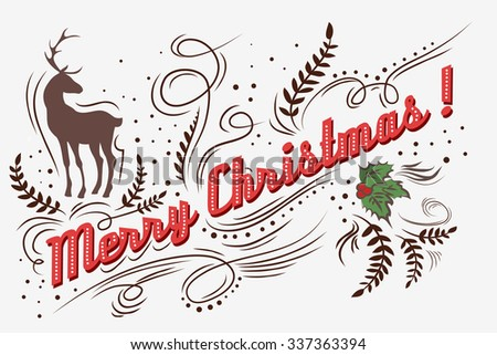 Merry Christmas!. Hand drawn Vintage greeting card. Lettering. Vector/EPS 10 - stock vector