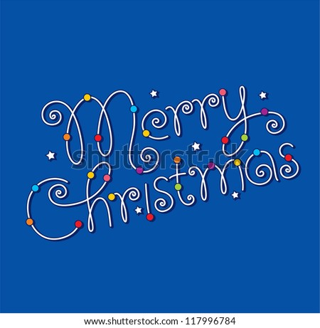 merry christmas hand lettering - stock vector