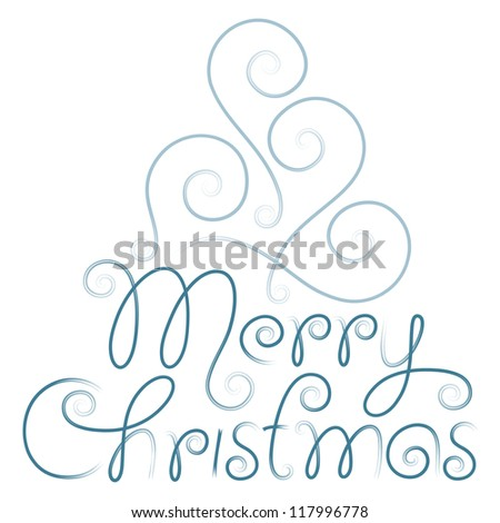merry christmas hand lettering and christmas tree - stock vector