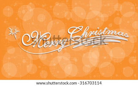 Merry Christmas Hand lettering Greeting Card.  Handmade calligraphy. Vector  illustration - stock vector