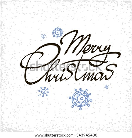 Merry Christmas hand lettering isolated on white background. Vector image. Modern calligraphy type. - stock vector