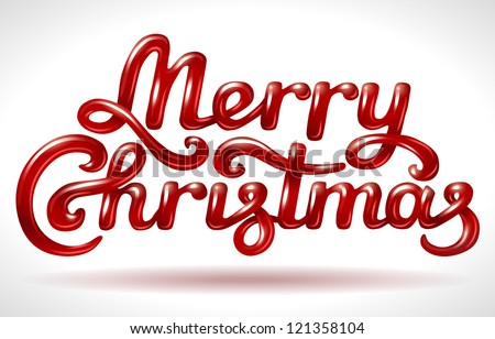 Merry Christmas hand lettering signature (red)- vector illustration. - stock vector