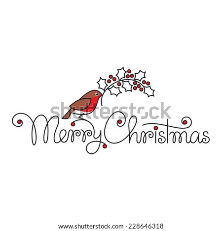 Merry christmas hand lettering with bullfinch and branch - stock vector