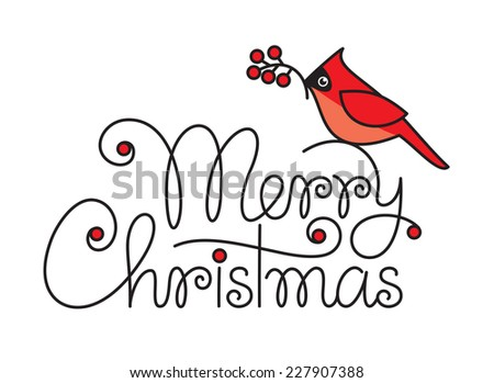 Merry christmas hand lettering with red robin bird and branch - stock vector