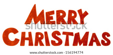 Merry christmas. Hand-written text. Vector illustration for your design. Christmas template.