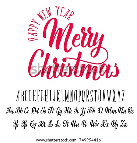 Merry christmas handwritten latin alphabet can stock vector merry christmas handwritten latin alphabet can be used for anything m4hsunfo