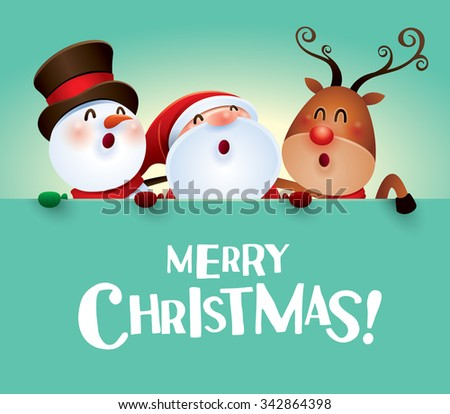 Merry Christmas! Happy Christmas companions with big sign. - stock vector