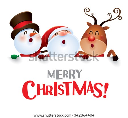 Merry Christmas! Happy Christmas companions with big sign. - stock vector