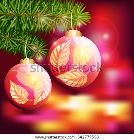 Merry Christmas happy New year background.Christmas balls on the Christmas tree. Vector illustration. - stock vector