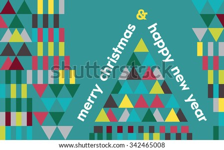 Merry Christmas & Happy New Year. Bright and modern design with geometric shapes and abstract Christmas tree on a teal background. - stock vector