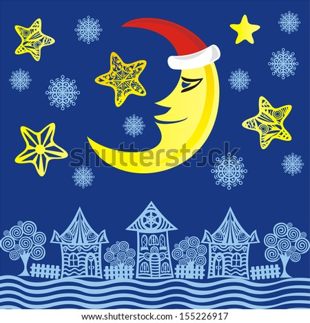 Merry christmas happy new year card houses tree moon stars snowflakes night vector illustration
