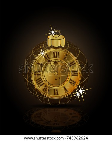Merry Christmas & Happy New year golden clock xmas ball, vector illustration
