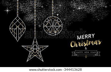 Merry Christmas Happy New Year greeting card design: xmas decoration ornaments in outline art deco style, white and gold colors. EPS10 vector. - stock vector