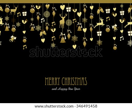 Merry Christmas Happy New Year holiday decoration in gold color with deer, holly, bird, snow and gift elements. Ideal for Xmas greeting card, event invitation or poster. EPS10 vector. - stock vector