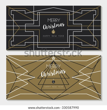 Merry christmas happy new year holiday greeting card set: abstract geometry design and pine tree in art deco outline style. EPS10 vector.    - stock vector