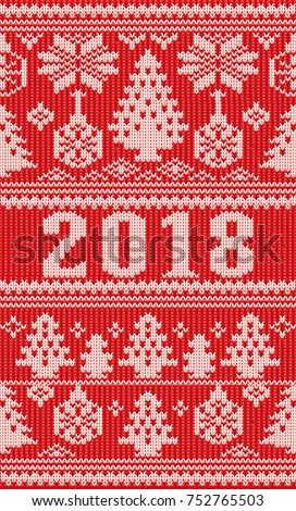 Merry Christmas Happy New 2018 Year holidays knitted, vector illustration