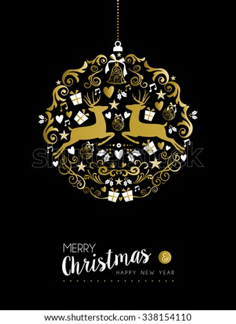 Merry christmas happy new year luxurious golden ornament ball shape on black background with deer and vintage elements. Ideal for xmas greeting card or elegant holiday party invitation. EPS10. - stock vector