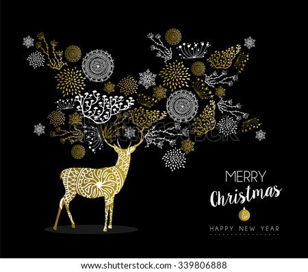 Merry christmas happy new year luxury golden deer design on black background with nature elements and label. Ideal for elegant holiday greeting card. EPS10 vector.  - stock vector