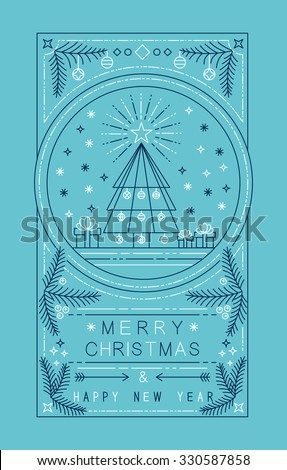 Merry Christmas happy New Year outline style design with holiday tree badge, holly, and xmas ornament decoration. Ideal for poster or greeting card. EPS10 vector.   