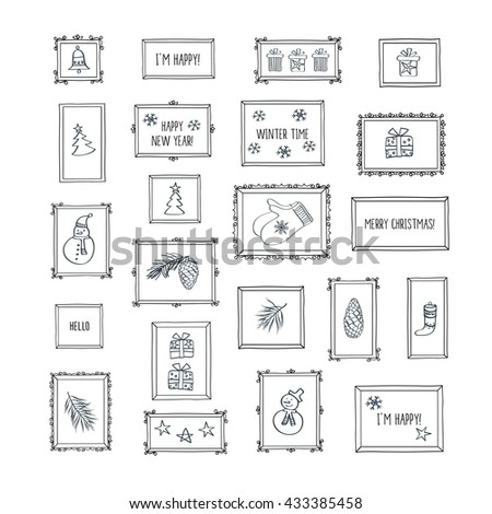 Merry Christmas. Happy New Year. Set of winter, Christmas, New Year pictures. Vintage frames with winter pictures. Hand drawing. Doodles, sketch, design elements. Vector. - stock vector
