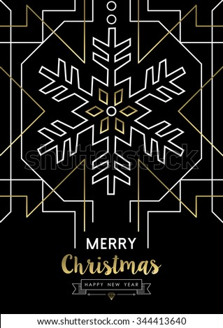 Merry Christmas Happy New Year snowflake frame design in gold art deco retro style. Ideal for elegant holiday party invitation, xmas greeting card or web. EPS10 vector.    - stock vector