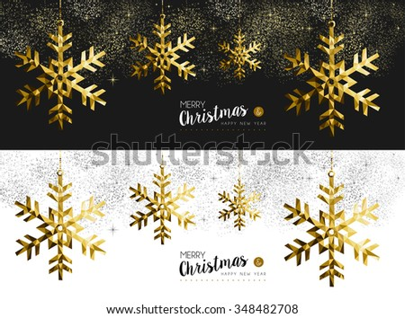 Merry Christmas Happy New Year social media cover banner set with gold low poly origami snowflake shapes on stars and firework background. EPS10 vector.   
