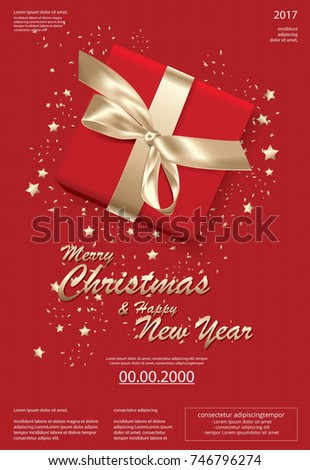 Merry Christmas & Happy New Year Template background Vector Illustration