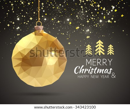 Merry Christmas Happy New Year trendy triangular gold xmas ball shape in hipster origami style. Ideal for xmas card or elegant holiday party invitation - stock vector