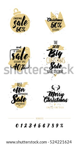 Merry Christmas. Happy New Year. Typography set. Vector logo, emblems, text design usable for banners, greeting cards, gifts etc. Vector elements