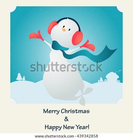 Merry Christmas. Happy  snowman. Vector illustration.