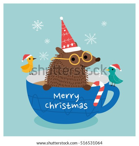 merry christmas hedgehog. vector illustration