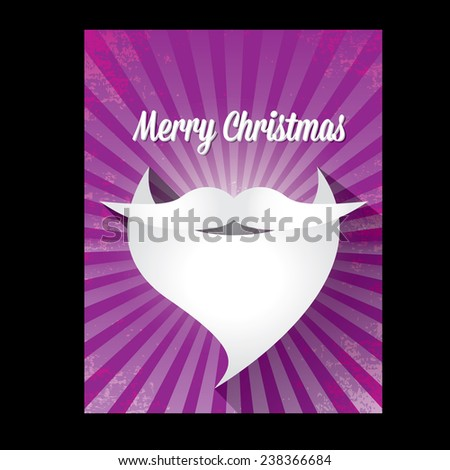 Merry Christmas hipster poster for party or greeting card on violet background. Vector illustration - stock vector