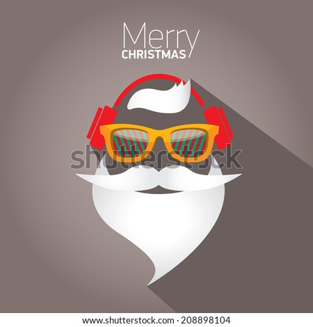 Merry Christmas hipster poster for party or greeting card. Vector illustration - stock vector