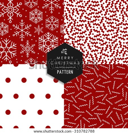 Merry Christmas hipster 80s vintage style seamless pattern set. Red white xmas backgrounds with snowflakes, lines, shapes, and dots elements. EPS10 vector file. - stock vector