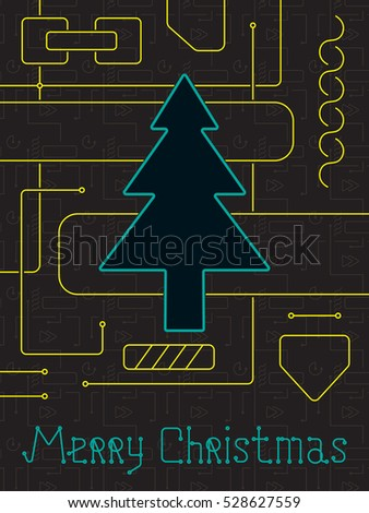 Merry christmas holiday greeting card geometry stock vector merry christmas holiday greeting card geometry lines art techno style line art design m4hsunfo