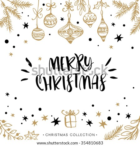 Merry Christmas. Holiday greeting card with calligraphy. Hand drawn design elements. Handwritten modern lettering.