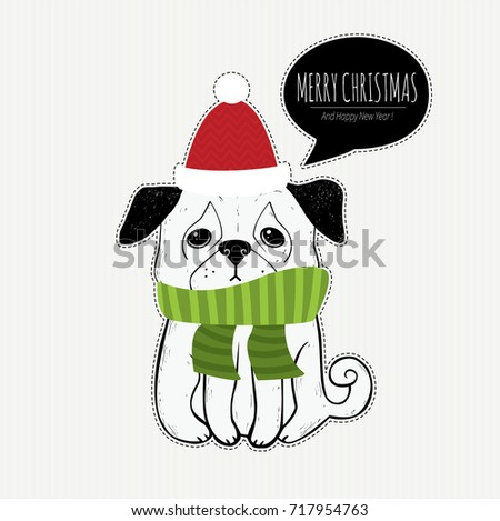 Merry christmas holiday greeting card hand stock vector 717954763 merry christmas holiday greeting card with hand drawn pug cute dog pet m4hsunfo