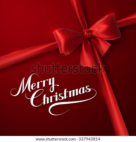 Merry Christmas. Holiday Vector Illustration. Lettering Composition On The Red Background With Ribbon And Red Bow - stock vector