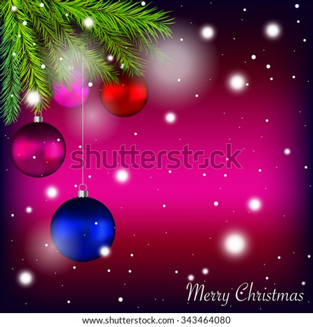 Merry Christmas holidays card with colorful baubles and Christmas tree twigs against snowy pink, purple background - vector illustration eps 10.
