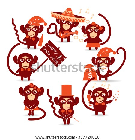 merry Christmas holidays monkey/set of funny Christmas Monkey - stock vector