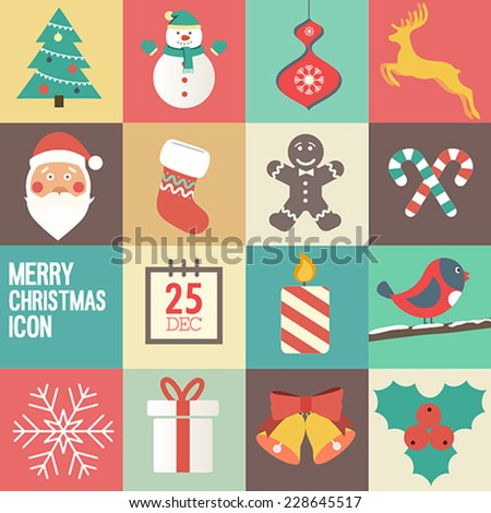 merry Christmas icon set. Vector illustration.