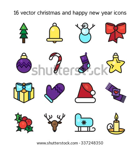 Merry Christmas icons set. Happy new year symbols. Winter holiday signs. Vector - stock vector