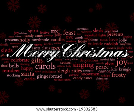 merry christmas in white surrounded by lots of red holiday words - stock vector