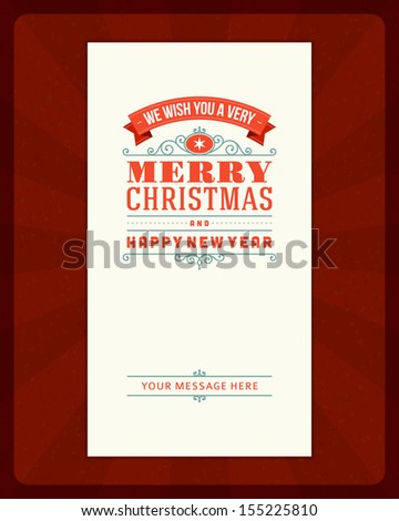 Merry Christmas invitation card ornament decoration background. Vector illustration Eps 10.. Happy new year message.  - stock vector