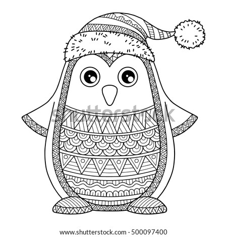 Merry Christmas Jolly Penguin Detailed Coloring Stock Vector Detailed Color Pages