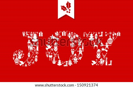 Merry Christmas joy text with holiday celebration icons. Vector layered for easy editing.