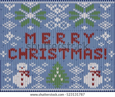 Merry Christmas knitted background, vector illustration