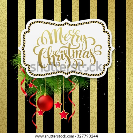 Merry christmas label with gold lettering. Vector Illustration EPS 10 - stock vector