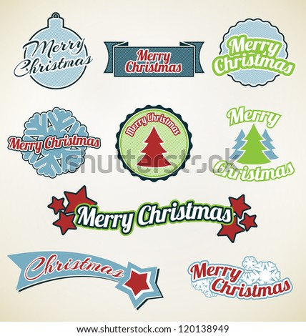 Merry Christmas labels on vintage background