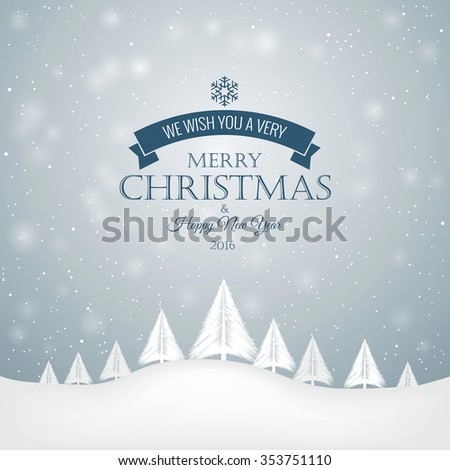 Merry Christmas Landscape. Can be used as holiday greeting cards. Vector - stock vector